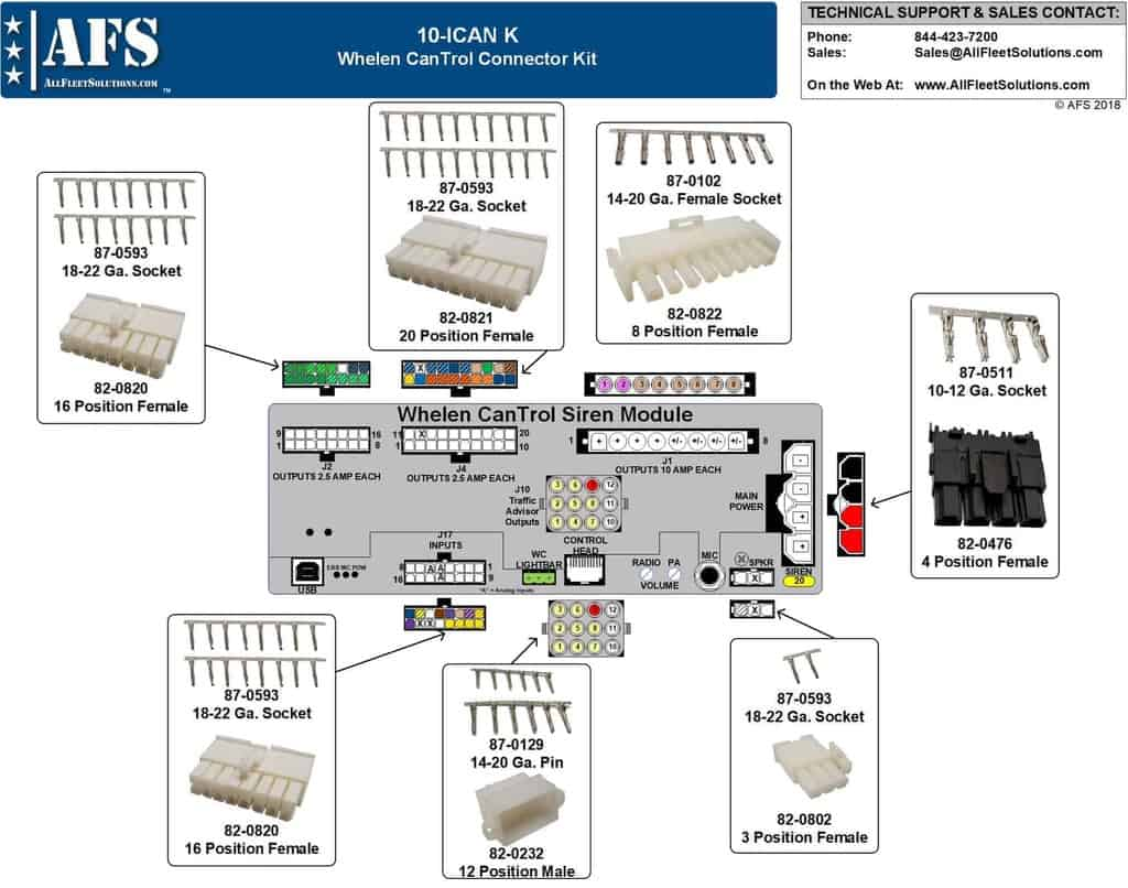 whelen power supply wiring diagram 10 ican k whelen cantrol connector kit all fleet solutions  10 ican k whelen cantrol connector kit